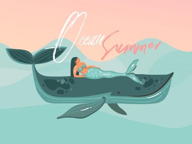 Hand gezeichnete abstrakte karikatur sommerzeit grafik illustrationen vorlage karte mit meerjungfrau mädchen, wal auf blauen wellen und moderne typografie ozean sommer isoliert auf rosa sonnenuntergang hintergrund