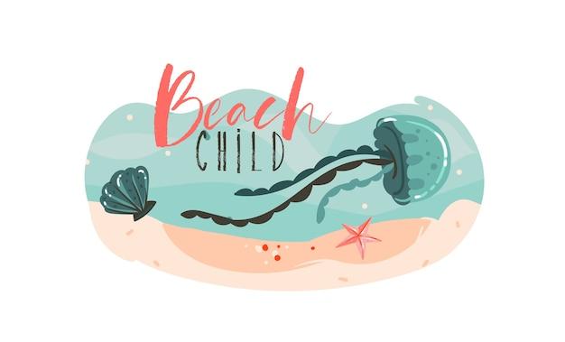 Hand gezeichnete abstrakte karikatur sommerzeit grafik unterwasser illustrationen vorlage hintergrund mit meeresboden, muschel, quallen, seestern isoliert auf weiß.