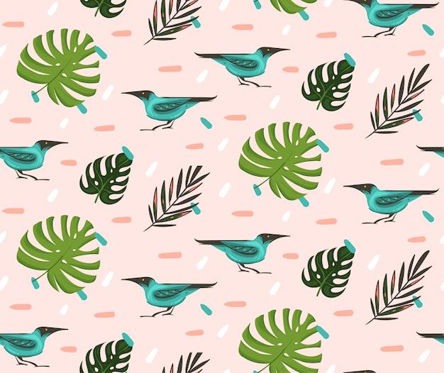 Hand gezeichnete abstrakte karikatur-sommerzeit-grafikillustrationen künstlerisches nahtloses muster mit exotischen tropischen palmenblättern grüne honeycreeper-vögel auf rosa pastellhintergrund