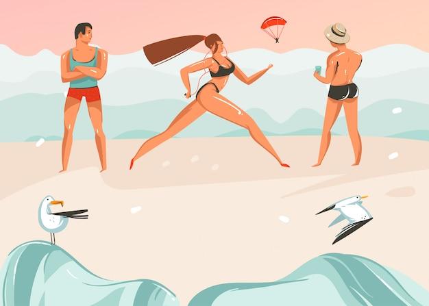 Hand gezeichnete abstrakte karikatur-sommerzeit-grafikillustrationen-kunstschablonenhintergrund mit ozeanstrandlandschaft, rosa sonnenuntergang, jungen und laufendes mädchen auf strandszene