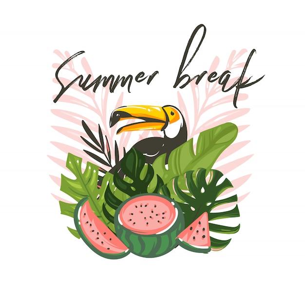 Hand gezeichnete abstrakte karikatur-sommerzeit-grafikillustrationen mit exotischem tropischem zeichen mit regenwaldtukanvogel, wassermelone und sommerpause-text lokalisiert auf weißem hintergrund