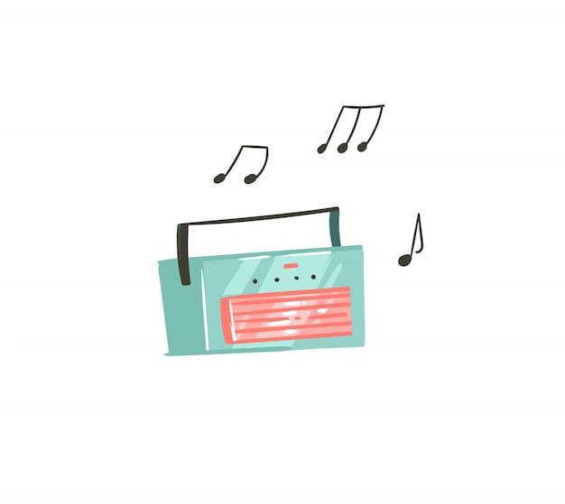 Hand gezeichnete abstrakte karikatur-sommerzeit-grafikillustrationen mit musikaufzeichnungsspieler auf weißem hintergrund