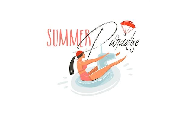 Hand gezeichnete abstrakte karikatur-sommerzeit-grafikillustrationen mit schönheitsmädchen auf einhorn-schwimmerringschwimmen auf pool und sommerparadies-typografie-zitat auf weißem hintergrund