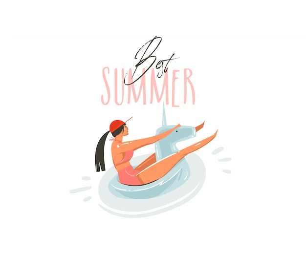 Hand gezeichnete abstrakte karikatur-sommerzeit-grafikillustrationen mit schönheitsmädchen auf einhornschwimmerringschwimmen auf pool und best summer typografie-zitat auf weißem hintergrund
