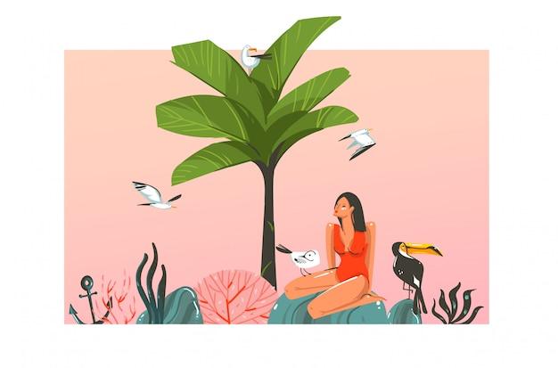 Hand gezeichnete abstrakte karikatur-sommerzeit-grafikillustrationsschablonenkarte mit mädchen, sonnenuntergang, palme, baum, tukanvögel auf strandszene auf weißem hintergrund