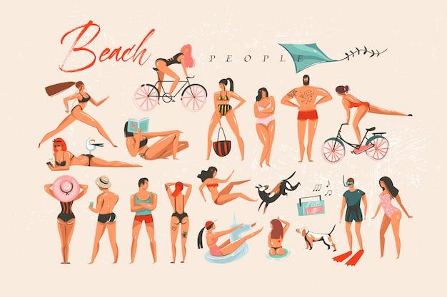 Hand gezeichnete abstrakte karikatur sommerzeit spaß große schwimmende menschen gruppe sammlung illustrationen auf lokalem hintergrund lokalisiert