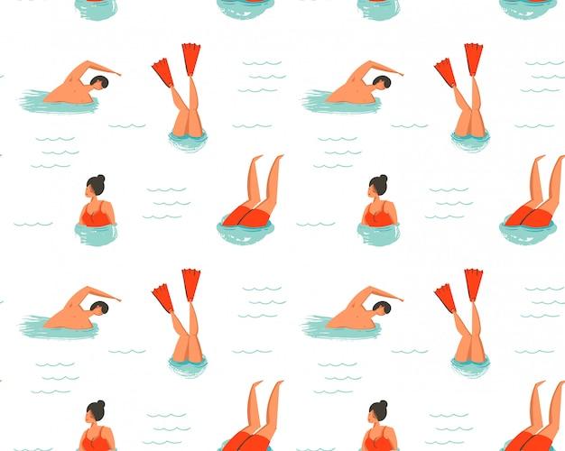 Hand gezeichnete abstrakte karikatur sommerzeit spaß illustration nahtlose muster mit schwimmenden menschen auf weißem hintergrund