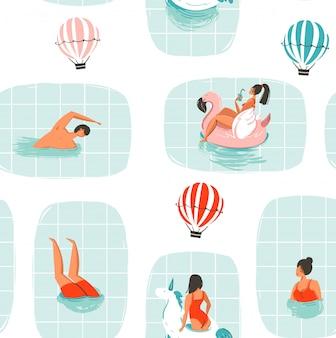 Hand gezeichnete abstrakte karikatur sommerzeit spaß illustration nahtlose muster mit schwimmenden menschen im schwimmbad mit heißluftballons auf weißem hintergrund