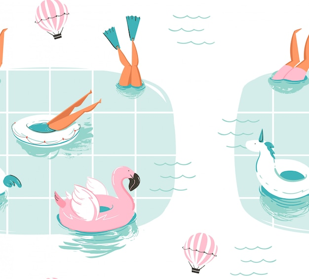 Hand gezeichnete abstrakte karikatur sommerzeit spaß karikatur nahtloses muster mit schwimmenden menschen im schwimmbad mit heißluftballons auf weißem hintergrund