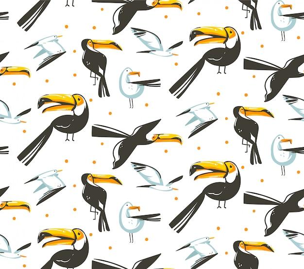 Hand gezeichnete abstrakte karikatur-sommerzeitillustrationen künstlerisches nahtloses muster mit strandmöwe und tukanvogelstrandurlaub auf weißem hintergrund