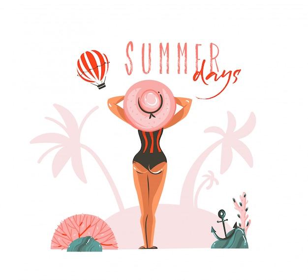 Hand gezeichnete abstrakte karikatur-sommerzeitillustrationsschablonenkarte mit mädchen auf strandszene und moderne typografie-sommertage auf weißem hintergrund
