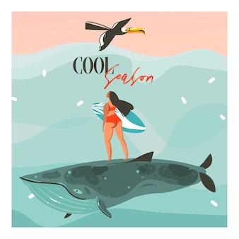 Hand gezeichnete abstrakte karikatur-sommerzeitillustrationsschablonenkarten mit surfmädchen, tukanvogel auf blauen wellen und moderner typografie-kühle jahreszeit auf rosa sonnenunterganghintergrund