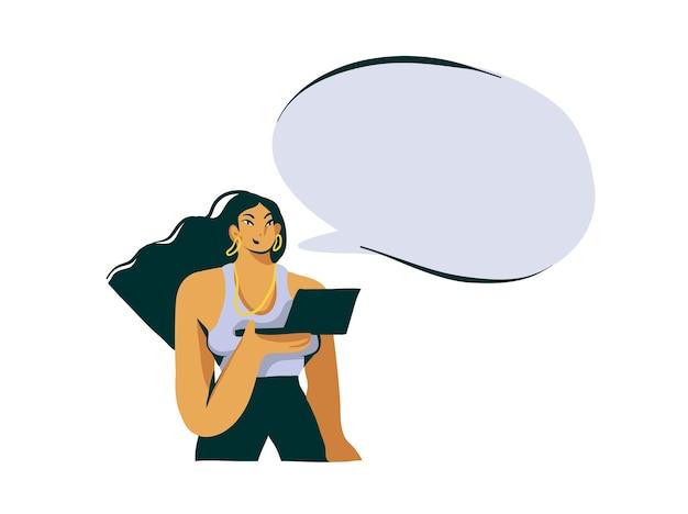Hand gezeichnete abstrakte karikatur stock moderne grafik influencer mädchen mit laptop illustration kunst und sprechblase auf weißem hintergrund.