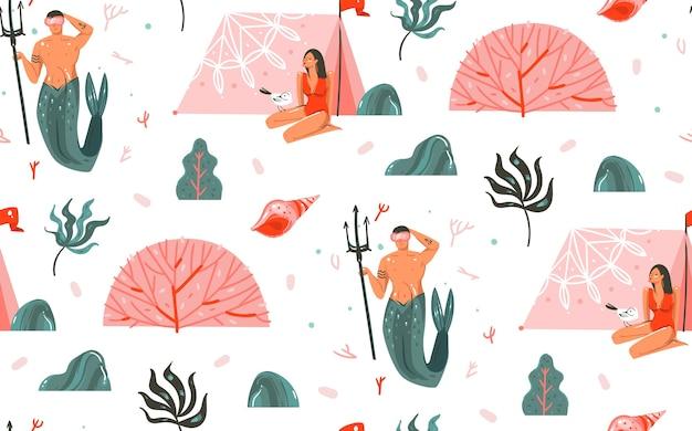 Hand gezeichnete abstrakte karikaturgrafik sommerzeit unterwasserillustrationen nahtloses muster mit meerjungfrau mann, mädchen im bikini lokalisiert auf weißem hintergrund.
