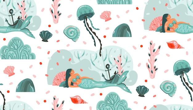 Hand gezeichnete abstrakte karikaturgrafik sommerzeit-unterwasserillustrationen nahtloses muster mit quallen, fischen und meerjungfrauenmädchencharakteren lokalisiert auf weißem hintergrund.
