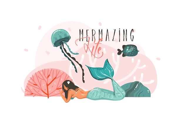 Hand gezeichnete abstrakte karikaturgrafik-unterwasserillustrationsplakat mit korallenriffen, fisch, seetang und schönheitsnixenmädchencharakter lokalisiert auf weißem hintergrund.