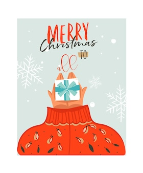 Hand gezeichnete abstrakte karikaturillustrationskarte der frohen weihnachtszeit mit leuten im gemütlichen pullover, der überraschungsgeschenkbox und moderne typografie frohe weihnachten zu allen lokalisiert auf weißem hintergrund gibt.