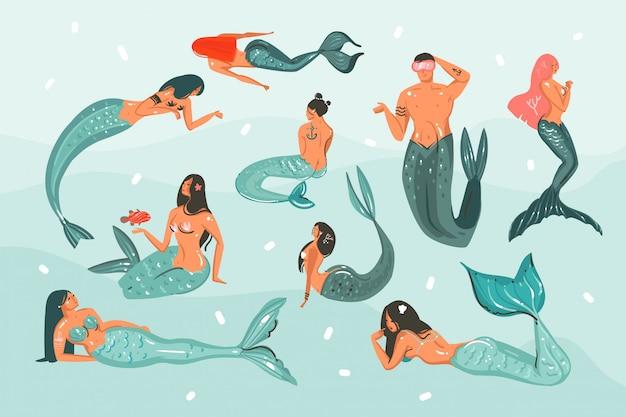 Hand gezeichnete abstrakte karikatursommerzeit-grafikillustrationssammlung, die mit den unterwasserschwimmmädchen und -jungen der schönheitsnixe lokalisiert auf blauen ozeanwellen gesetzt wird