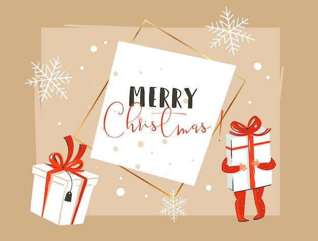Hand gezeichnete abstrakte karussellillustration der frohen weihnachten und der guten neuen jahreszeit