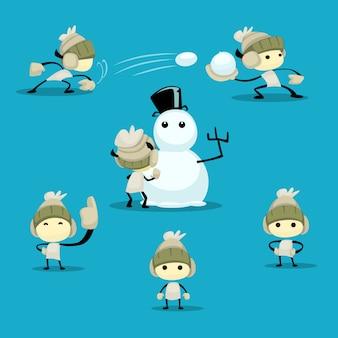 Hand gezeichnete abstrakte Kinderzahl Winterspaßtätigkeit