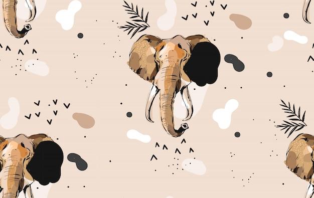 Hand gezeichnete abstrakte kreative grafische künstlerische illustrationen nahtloses collagenmuster mit skizze elefant zeichnung stammes mottif lokalisiert auf khaki hintergrund
