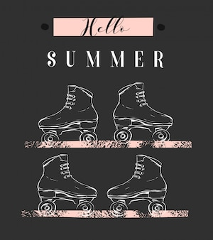 Hand gezeichnete abstrakte kreative illustration mit grafischen rollen und modernem kalligraphiezitat hallo sommer in pastellfarben auf weißem hintergrund. ungewöhnliches mode-sommerzeitkonzeptzeichen