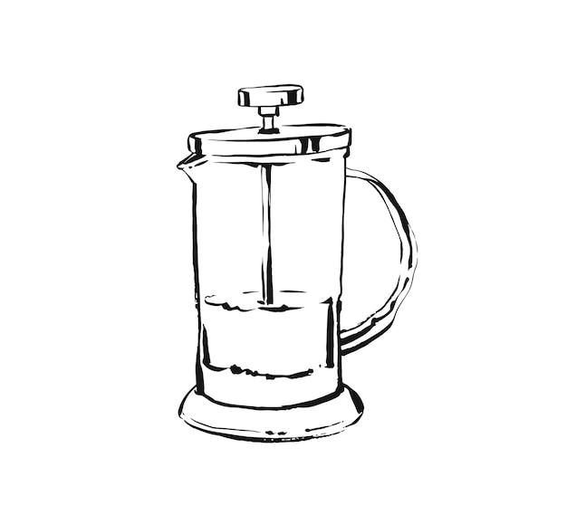Hand gezeichnete abstrakte künstlerische kochtinten-skizzenzeichnung illustration