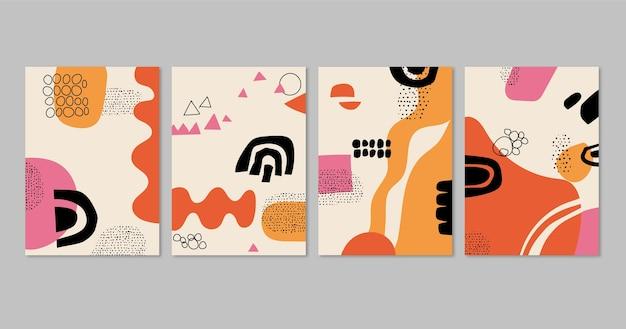Hand gezeichnete abstrakte kunstabdeckungssammlung
