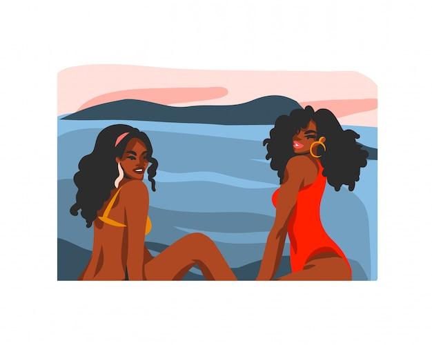 Hand gezeichnete abstrakte lagerillustration mit der jungen glücklichen schönheitsfrau, im badeanzug auf sonnenuntergangstrandszene auf weißem hintergrund.