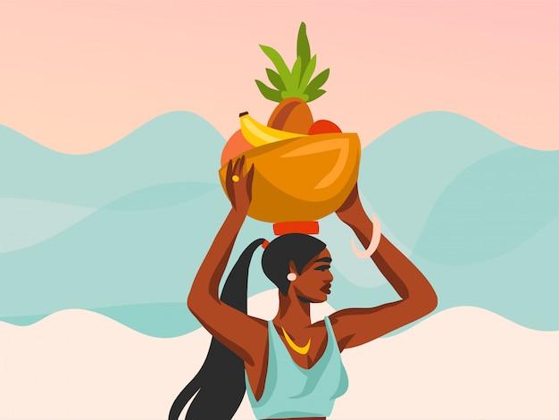 Hand gezeichnete abstrakte lagerillustration mit der jungen glücklichen schönheitsfrau, trägt einen korb der frucht auf seinem kopf auf strandszenencafé auf weißem hintergrund.