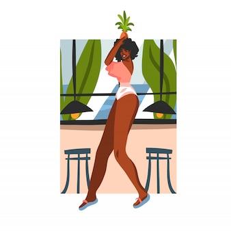 Hand gezeichnete abstrakte lagerillustration mit der jungen glücklichen schönheitsfrau und ananasfrucht auf seinem kopf in der strandcafészene auf weißem hintergrund