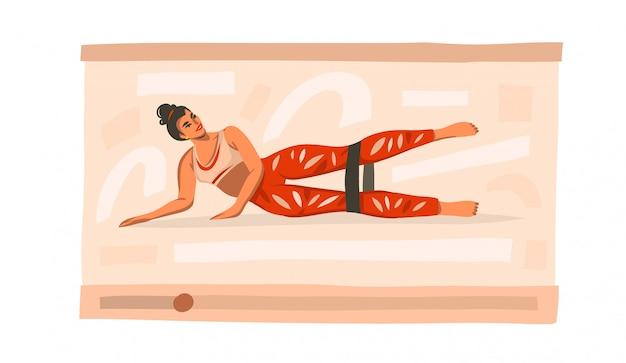Hand gezeichnete abstrakte lagerillustration mit der jungen glücklichen weiblichen ausbildung zu hause mit sportgummi-gummibändern auf video auf weißem hintergrund.