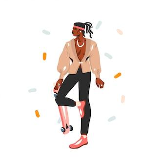 Hand gezeichnete abstrakte lagerillustration mit jungem glücklichem schönheitsmannporträt im mode-outfit auf weißem hintergrund