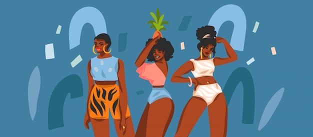 Hand gezeichnete abstrakte lagerillustration mit jungen glücklichen schönheitsfrauengruppe auf farbcollagenformhintergrund.