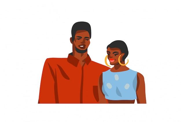 Hand gezeichnete abstrakte lagerillustration mit jungen glücklichen schönheitsstudentenpaar auf weißem hintergrund