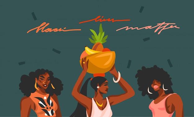 Hand gezeichnete abstrakte lagerillustration mit jungen schönheitsfrauen und schwarzer lebensmateriebeschriftung auf farbcollagenformhintergrund.