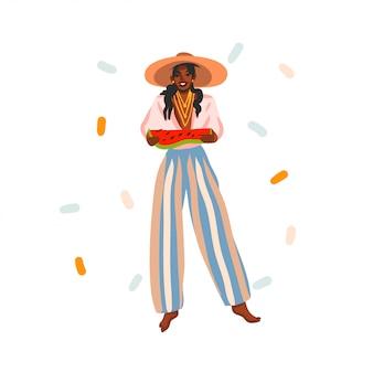 Hand gezeichnete abstrakte lagerillustration mit junger, glücklicher schönheitsfrau im modesommeroutfit, das draußen auf weißem hintergrund lächelt.