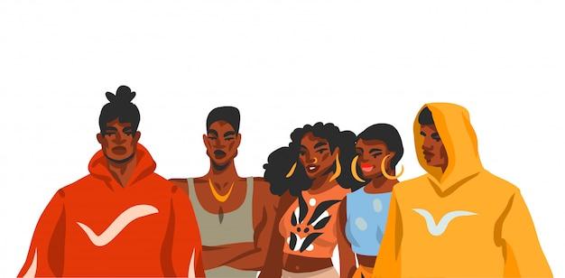 Hand gezeichnete abstrakte lagerillustration mit junger schönheitsmenschengruppe im mode-outfit auf weißem hintergrund