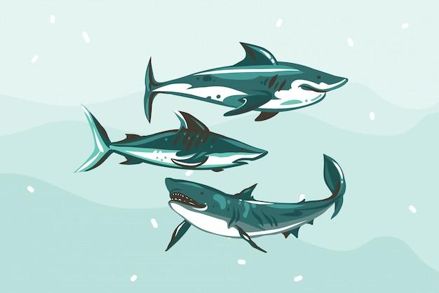 Hand gezeichnete abstrakte lagerillustration mit unterwasserschwimmhai-zeichnungssammlung auf blauem hintergrund