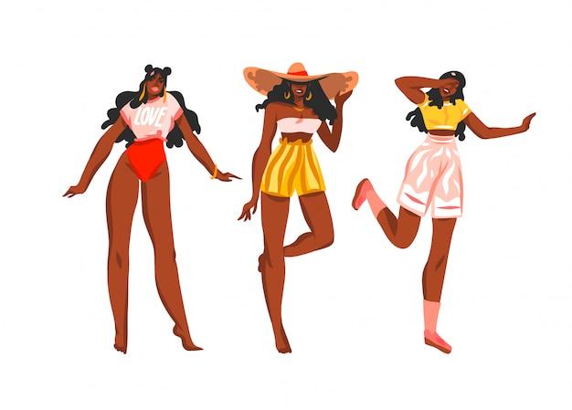 Hand gezeichnete abstrakte lagerillustrationssammlung, die mit jungen glücklichen, schönheitsfrauen im badeanzug und im strandhut auf weißem hintergrund gesetzt wird