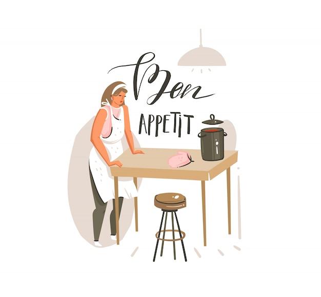 Hand gezeichnete abstrakte moderne karikatur kochklasse illustrationen poster mit retro vintage kochfrau und handgeschriebene kalligraphie bon appetit auf weißem hintergrund