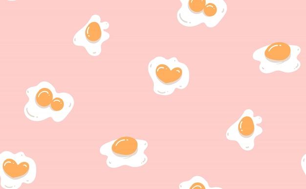 Hand gezeichnete abstrakte moderne karikatur kochzeit nahtloses muster mit eiern und eigelb lokalisiert auf pastellrosa hintergrund
