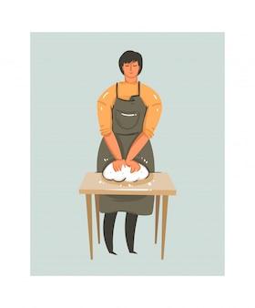 Hand gezeichnete abstrakte moderne karikatur kochzeit spaß illustrationen ikone mit tabelle und vorbereitung teig mann in schürze lokalisiert auf weißem hintergrund. lebensmittel kochen konzept illustrationen design