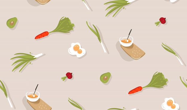 Hand gezeichnete abstrakte moderne karikatur kochzeit spaß illustrationen ikonen nahtloses muster mit gemüse, essen und küchenutensilien auf grauem hintergrund