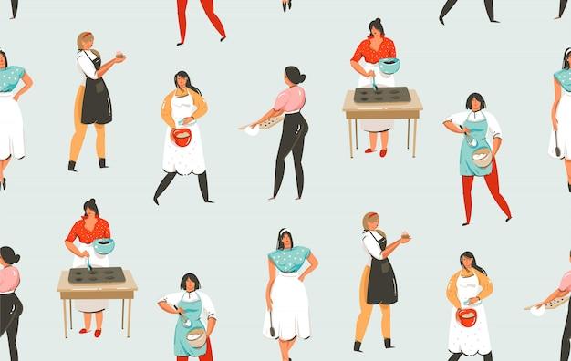 Hand gezeichnete abstrakte moderne karikatur-kochzeit-spaßillustrationen nahtloses muster mit kochkochfrauen lokalisiert auf hintergrund