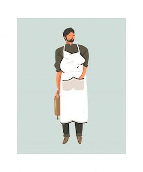 Hand gezeichnete abstrakte moderne karikatur-kochzeit-spaßillustrationsikone, die teigmänner in der schürze lokalisiert auf weißem hintergrund vorbereitet. lebensmittelkochkonzeptillustrationen entwerfen