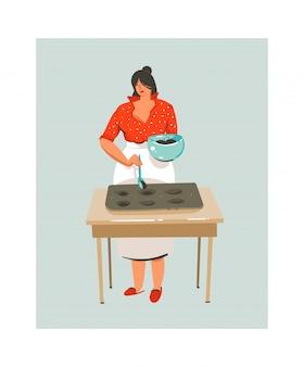 Hand gezeichnete abstrakte moderne karikatur-kochzeit-spaßillustrationsikone mit kochender frau im vorfeld lokalisiert auf weißem hintergrund