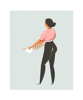 Hand gezeichnete abstrakte moderne karikatur-kochzeit-spaßillustrationsikone mit kochfrau, die kekse lokalisiert auf weißem hintergrund vorbereitet