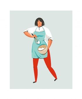 Hand gezeichnete abstrakte moderne karikatur-kochzeit-spaßillustrationsikone mit kochkochfrau in der blauen schürze, die schlagsahne im topf lokalisiert auf weiß vorbereitet