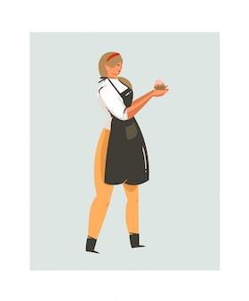 Hand gezeichnete abstrakte moderne karikatur-kochzeit-spaßillustrationsikone mit kochkochfrau in der schwarzen schürze hält cupcake lokalisiert auf weißem hintergrund
